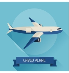 Cargo plane icon on background in flat design vector