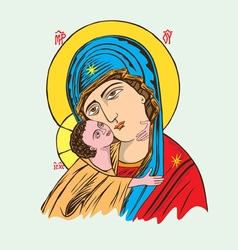 Ave maria and child vector