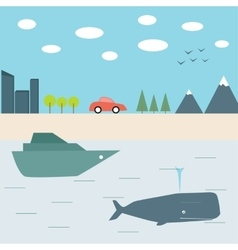 Summer journey by car and boat vector