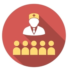 Medical class flat round icon with long shadow vector
