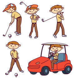 Cute doodle golf players set vector