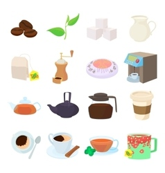Coffee and tea icons set cartoon style vector
