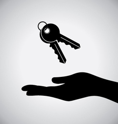 Black hand with black key icon vector
