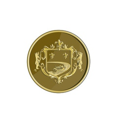 Steamboat Fleur De Lis Coat of Arms Medal Retro vector image