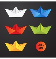 Paper origami ship icon colorful origamy vector