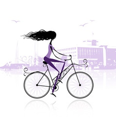 Girl cycling in the city vector image