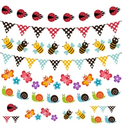 Summer garden garland set vector
