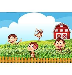 A farm with monkeys vector