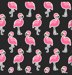 Beautiful seamless pattern with flamingo stickers vector