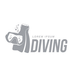 black white graphic diving logo template with mask vector image vector image