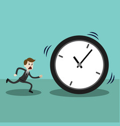businessman late and running with clock or time vector image