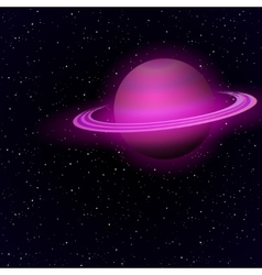 Cartoon Saturn in open space vector image vector image