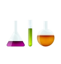 Chemistry glassware on white vector