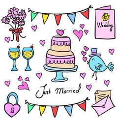 Collection stock of wedding party in doodles vector