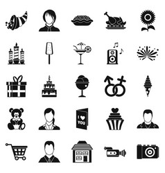Family dinner icons set simple style vector