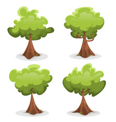 Funny green trees set vector