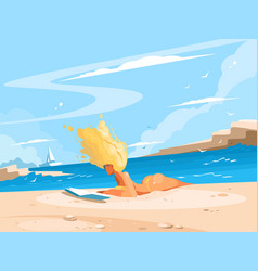 Girl reading book on sunny beach vector