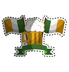 Glass beer with flags and ribbon vector