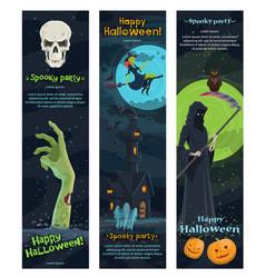 Halloween horror night banner spooky party design vector