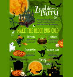 halloween horror party banner with ghost house vector image