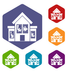 House with broken windows icons set vector