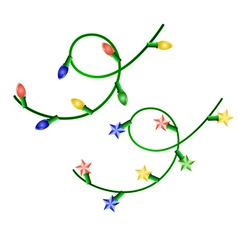 image of two christmas garlands with different lig vector image