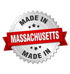 Made in massachusetts silver badge with red ribbon vector