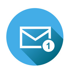 Mail envelope message in flat style on round blue vector