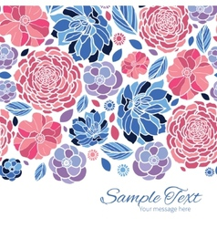 Mosaic flowers horizontal border card vector