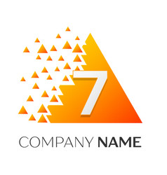 number seven symbol on colorful triangle vector image vector image