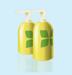 Realistic mockup cosmetic bottle with print vector