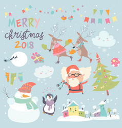 set of christmas characters and icons vector image vector image