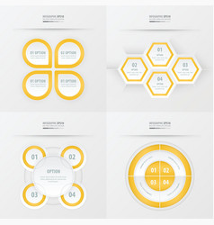 set of presentation design yellow color vector image vector image