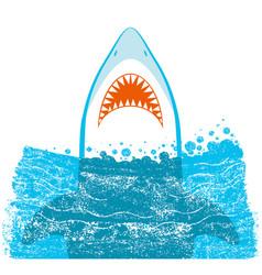 Shark jaws blue background vector