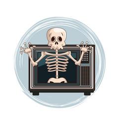 Skull videogame character cartoon on tv vector