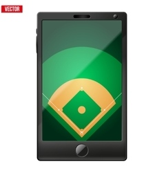 Smartphone with a baseball field on the screen vector