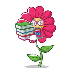 student with book pink flower character cartoon vector image