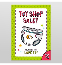 Toy shop sale flyer design with baby diaper vector