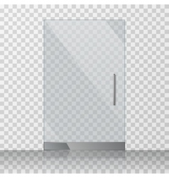 Transparent clear glass door isolated on checkered vector image