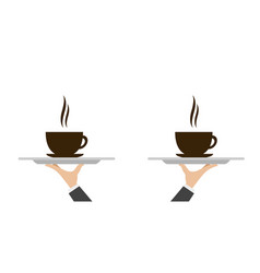 Waiter tray with coffee vector