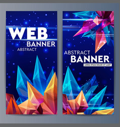 web banners with faceted crystals glass asteroid vector image vector image