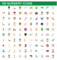 100 nursery icons set cartoon style vector image
