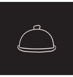 Restaurant cloche sketch icon vector