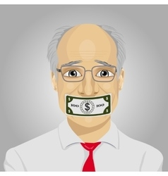 Senior businessman with dollar bill taped to mouth vector
