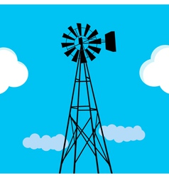 Water pumping windmill vector
