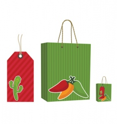 Mexican bag and tag set vector image