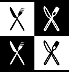 Fork and knife sign  black and white icons vector