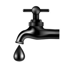 Black tap with oil drop on white background vector