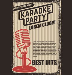 karaoke party poster vintage microphone on grunge vector image
