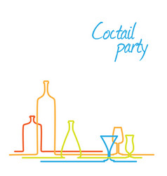Coctail party invitation card with glasses and vector